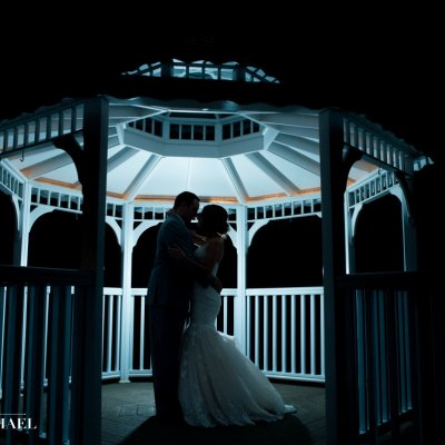 Wedding Photos in Gazebo at Night