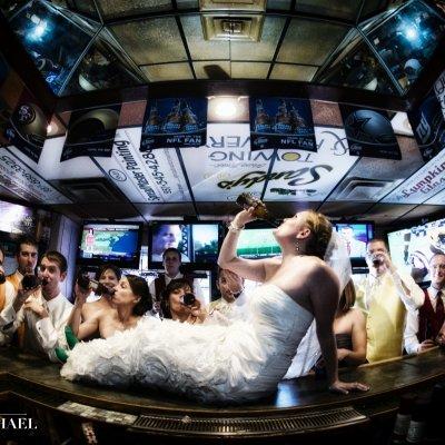 Bridesmaids in Bar Wedding Photo