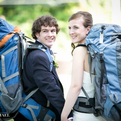 Bride and Groom Backpacking