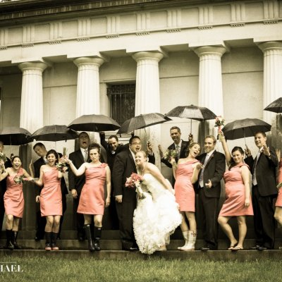 Wedding Photos in the Rain with Umbrellas