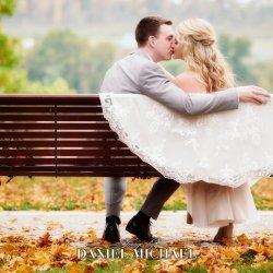 Romantic Park Bench Wedding Photo