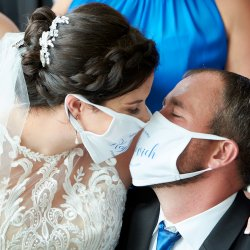 Funny Mask Wedding Photo