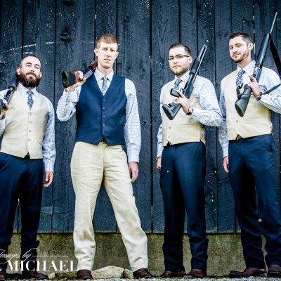 Wedding Photo with Guns