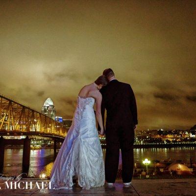 Cincinnati Wedding Photography Newport Levee Skyline