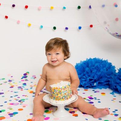 Confetti Cake Smash, Cake Smash Photographers, Cincinnati Cake Smash, Cincinnati Portraits, Jessica Rist