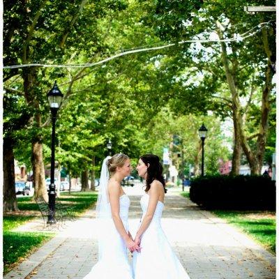 Two Women Wedding in Dresses