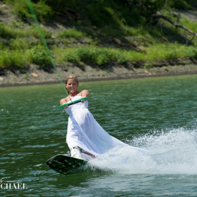 Bride Wakeboarding Wedding Photographers
