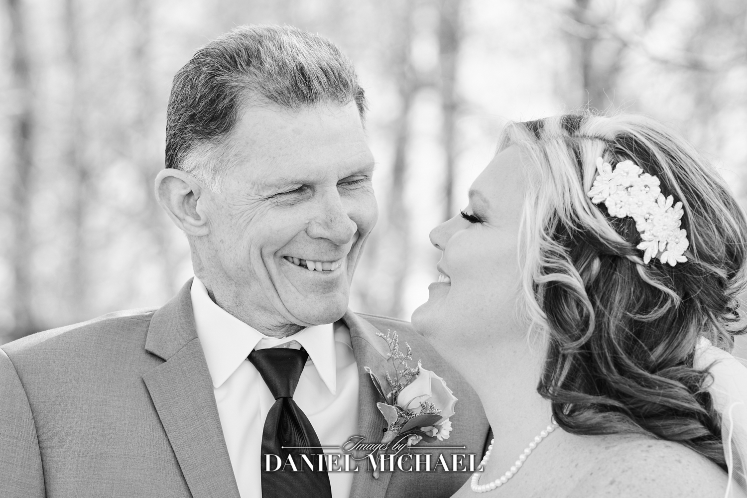 Dad smiling at Daughter Wedding Photography