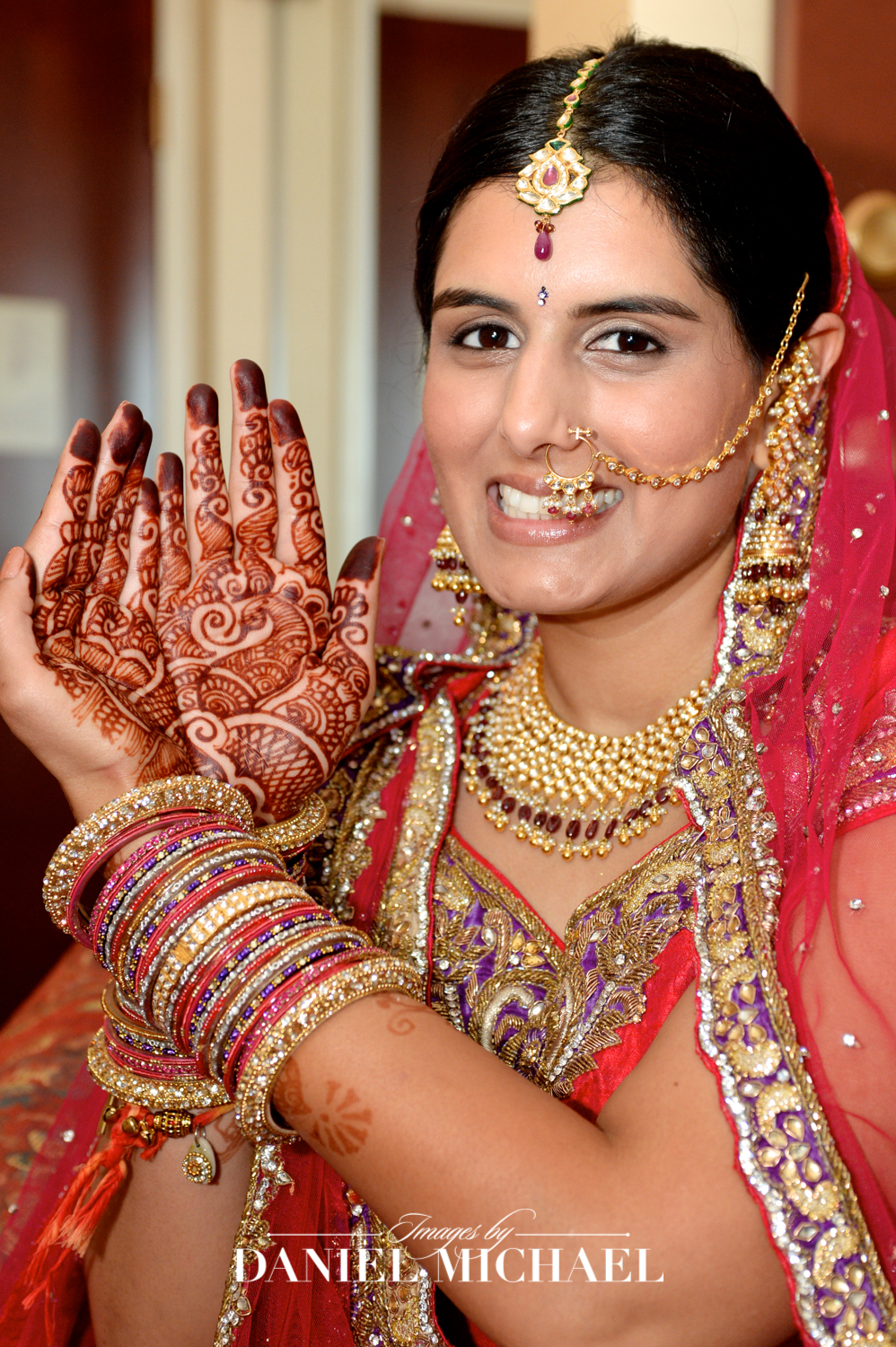 Bride with Henna for Indian Wedding