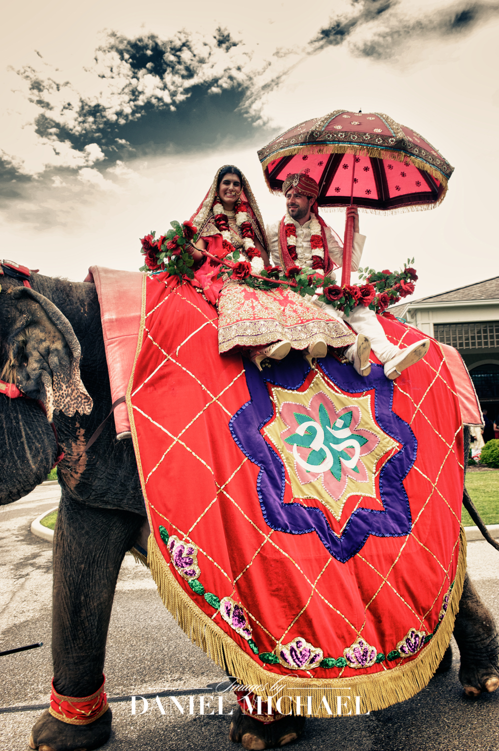 Indian Wedding Couple on Elephant