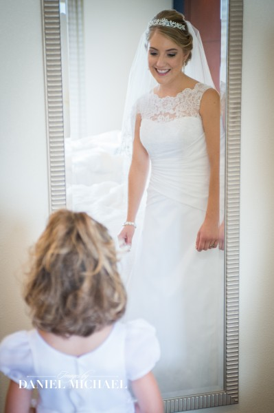 Bride and Flower Girl in Mirror
