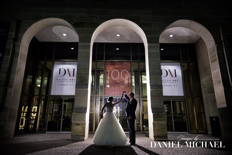 Dayton Art Institute Wedding Photo at Night