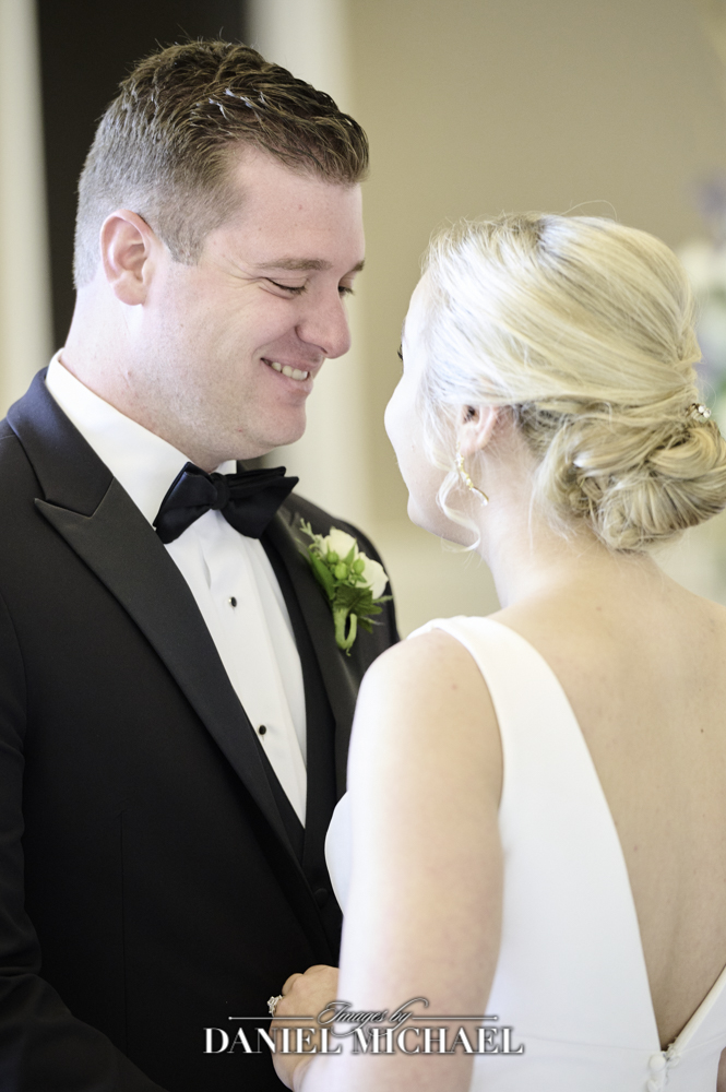 Groom's expression during reveal