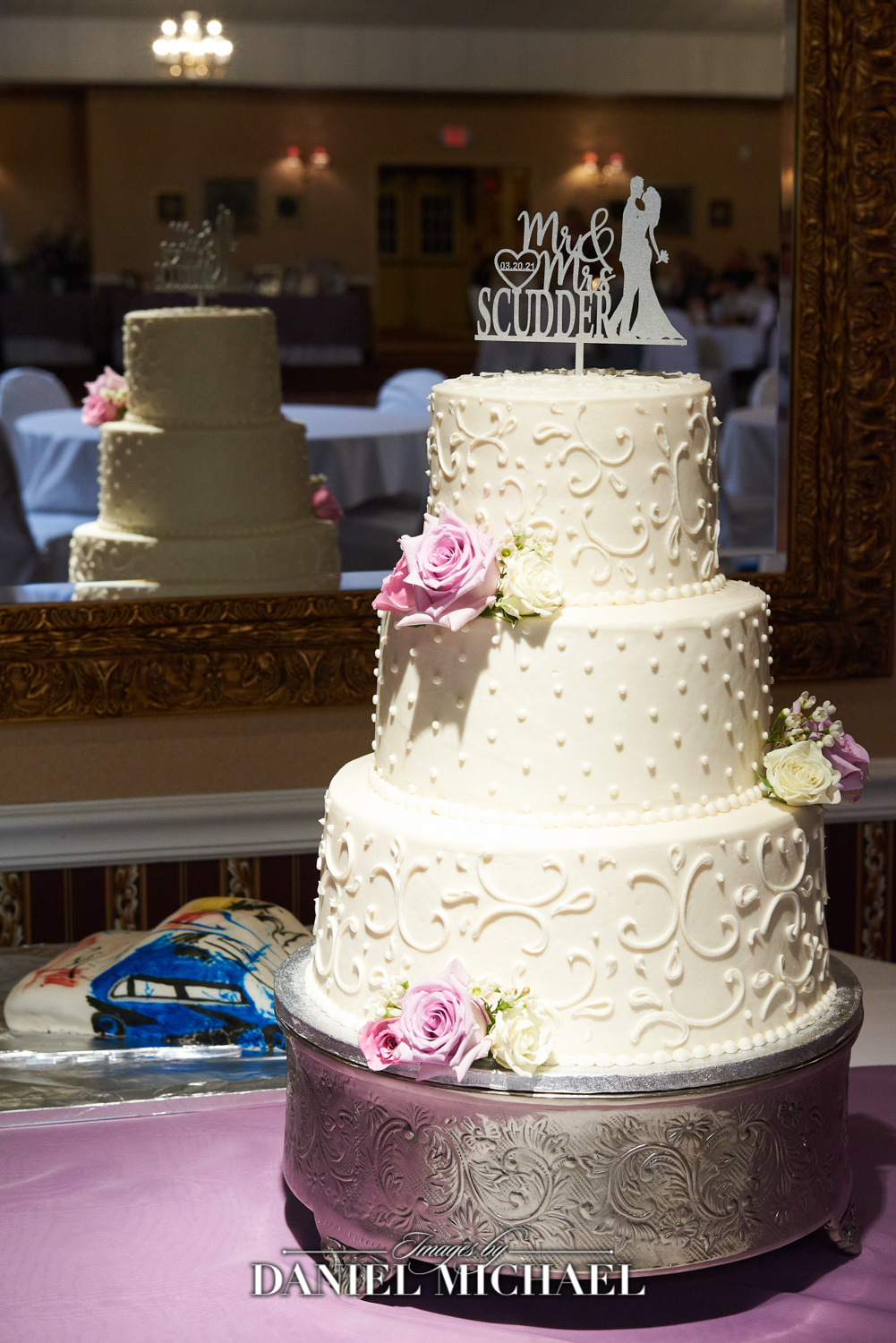Wedding Cake with Mirror Reflection