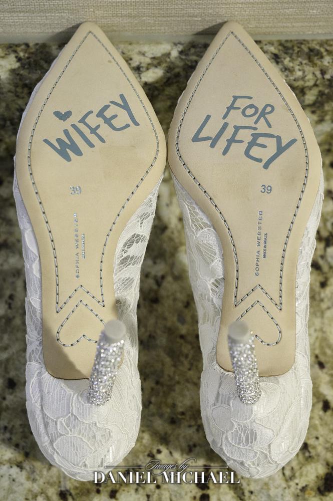 Wifey for Lifey on bottom of Wedding Shoes