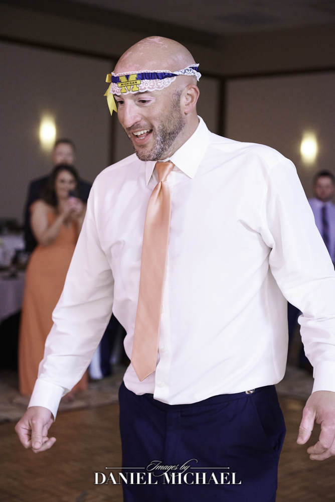 Groom with Michigan Garter on Head