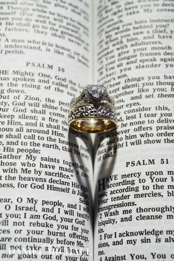 Wedding Rings Make Heart in Bible