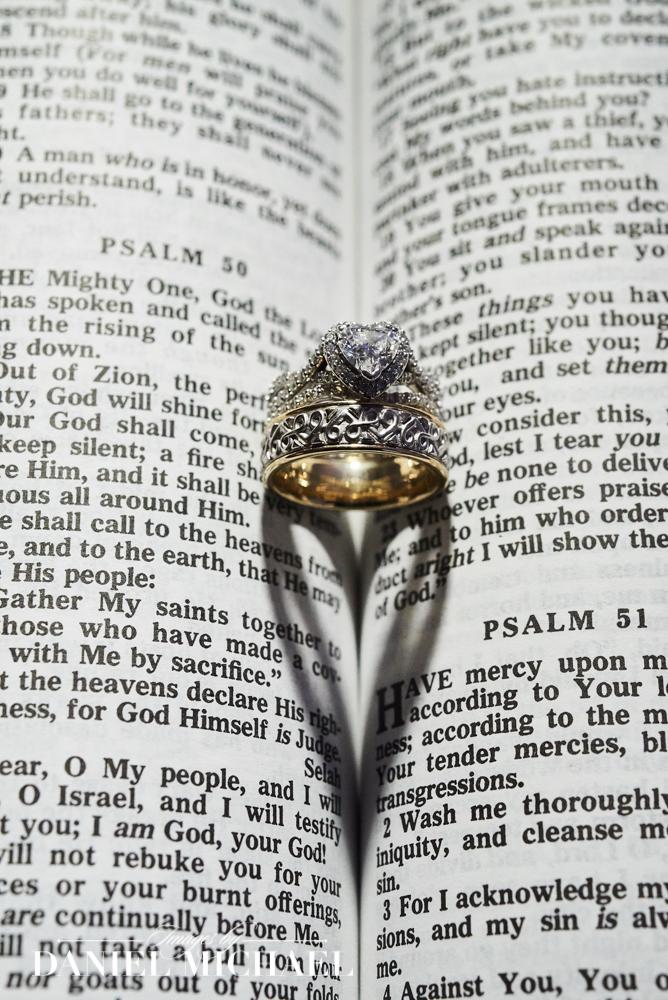 Wedding Rings Make Heart in Bible