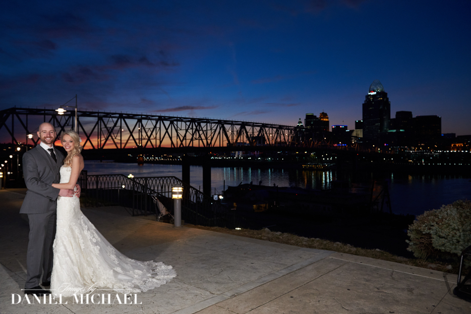 Cincinnati Skyline Sunset Wedding