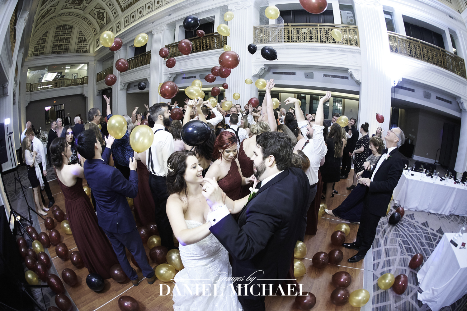 Balloon Drop Wedding Reception Photo