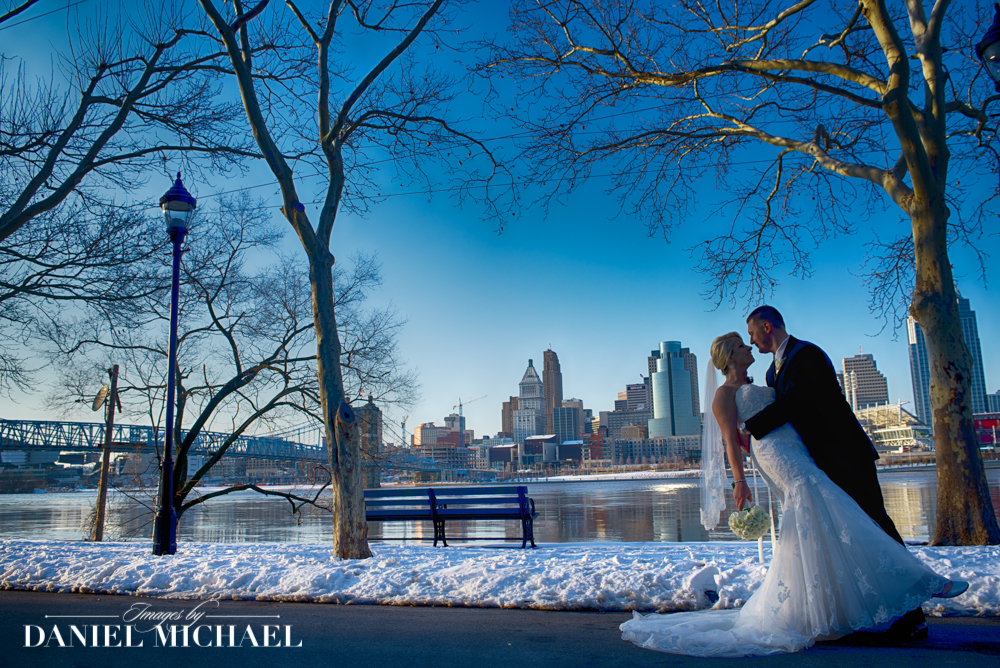 Cincinnati Skyline Wedding in Snow