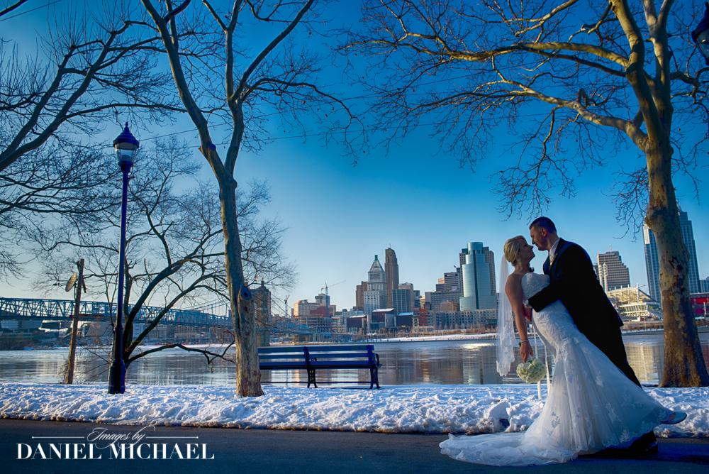Cincinnati Skyline Wedding in Snow