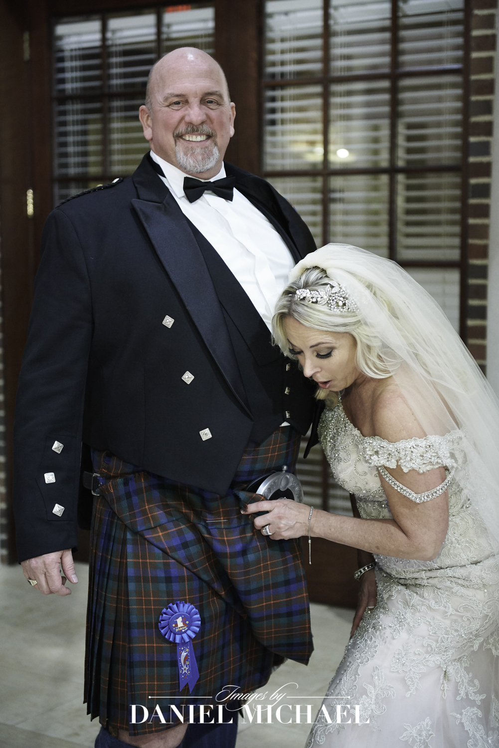 Groom in Kilt with Blue Ribbon