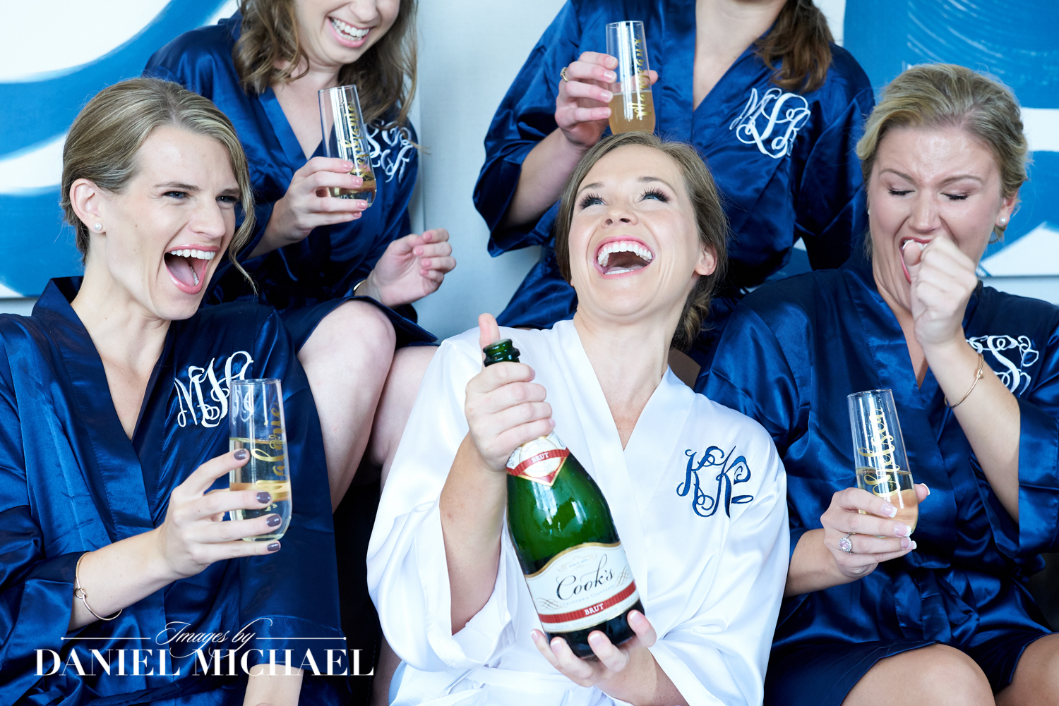 Bridesmaids Opening Champagne