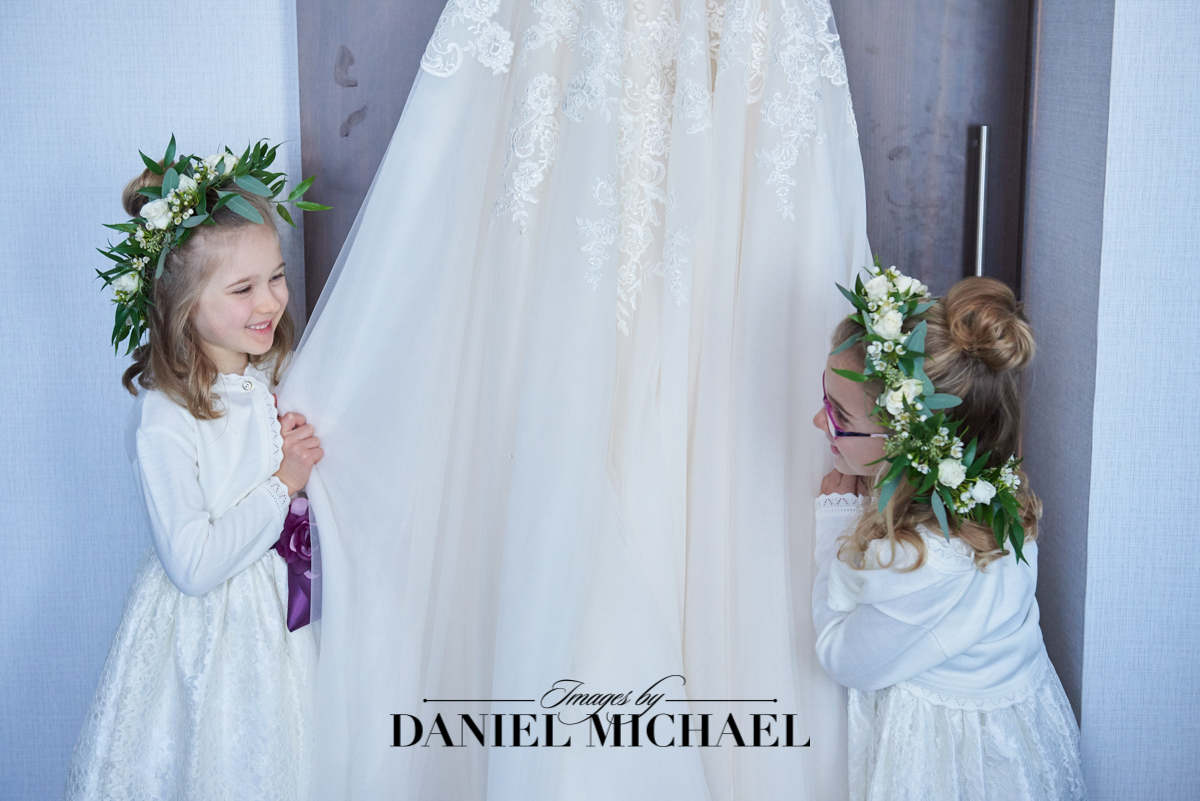 Flower Girls with Wedding Dress Photo