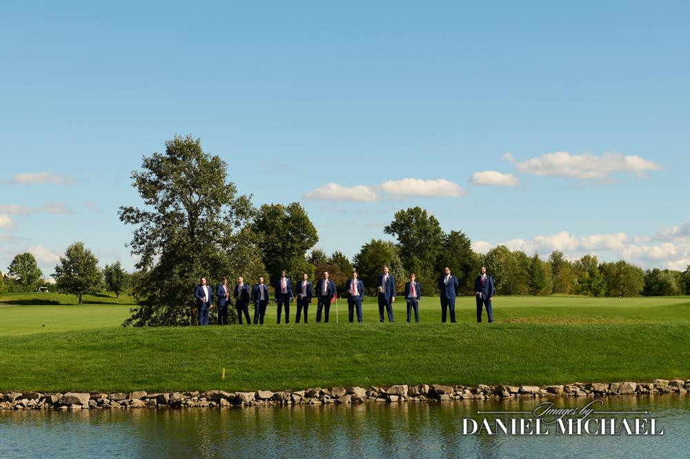 Stonelick Hills Wedding Photography of Guys on Island Green