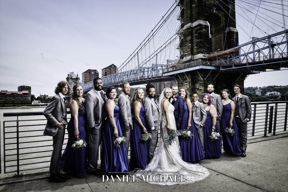 Wedding Party Photography at Roebling Bridge
