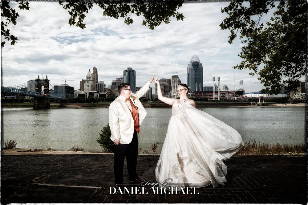 Bride Spinning Bride with Cincinnati Skyline