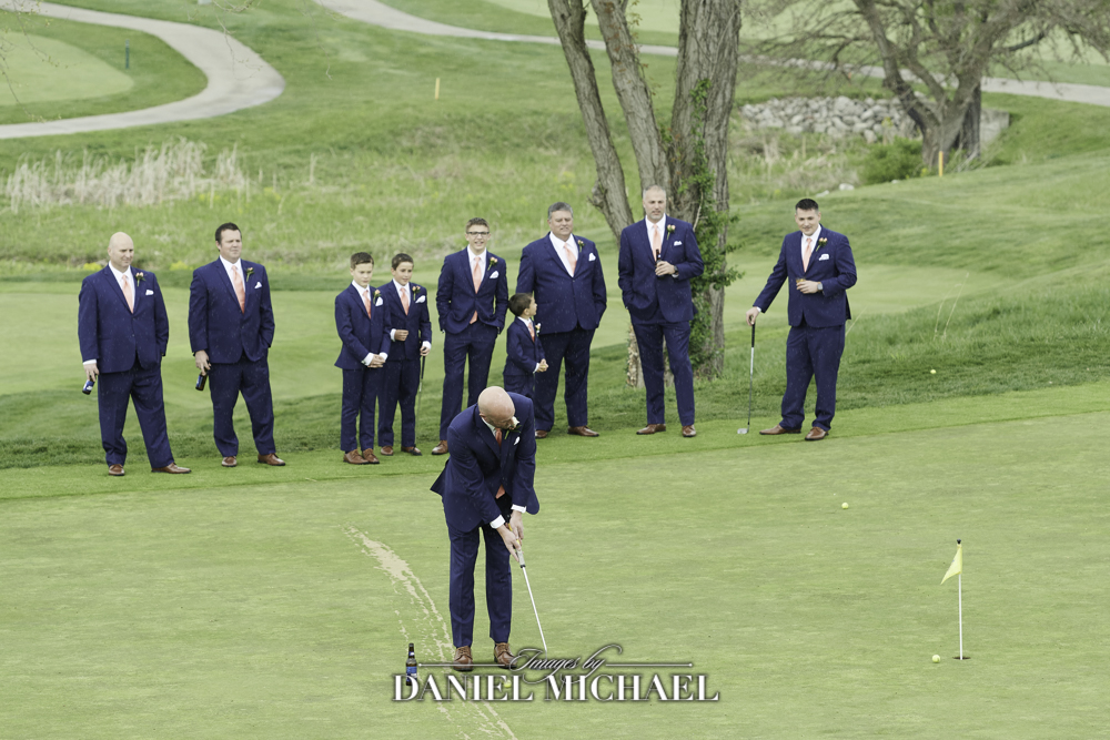Groom Playing Golf on Wedding Day