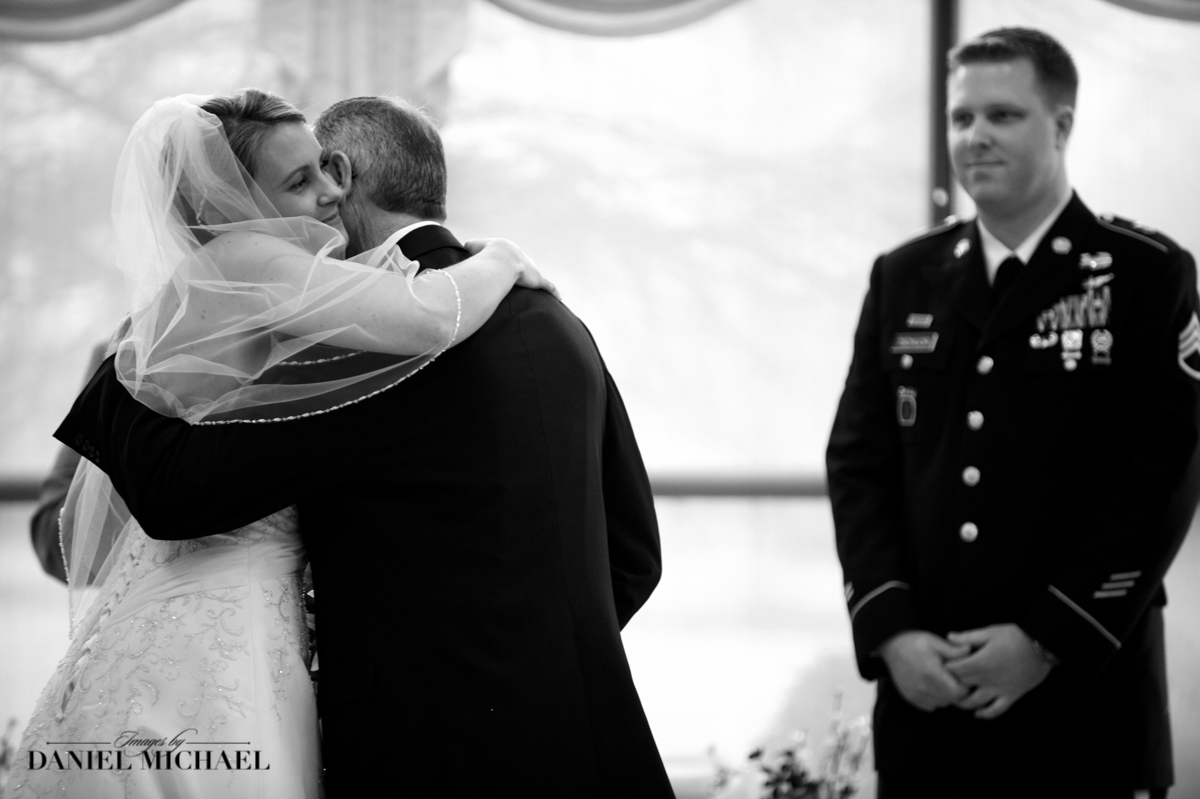 Father Giving Away Bride to Military Groom