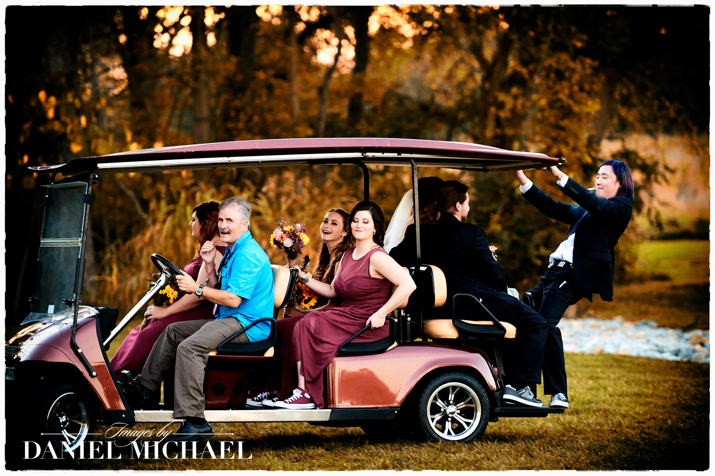 Fun Wedding Photography Golf Cart