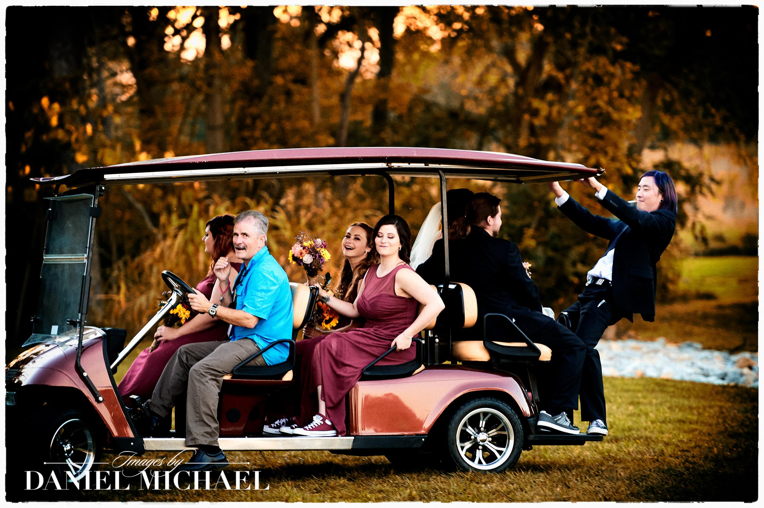 Fun Wedding Photography Golf Cart