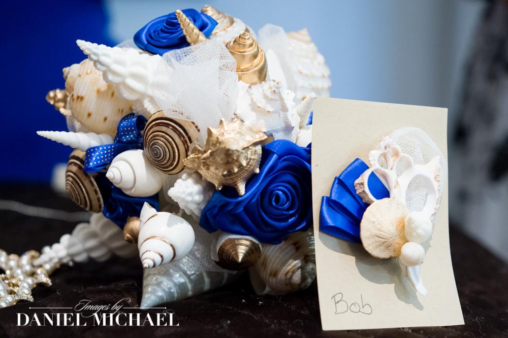 Wedding bouquet made of shells