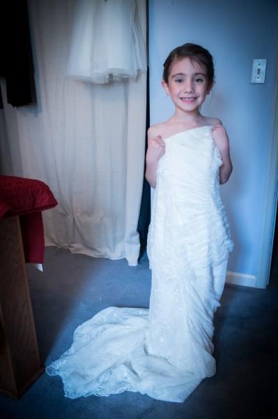 Flower Girl in Bride\'s Dress