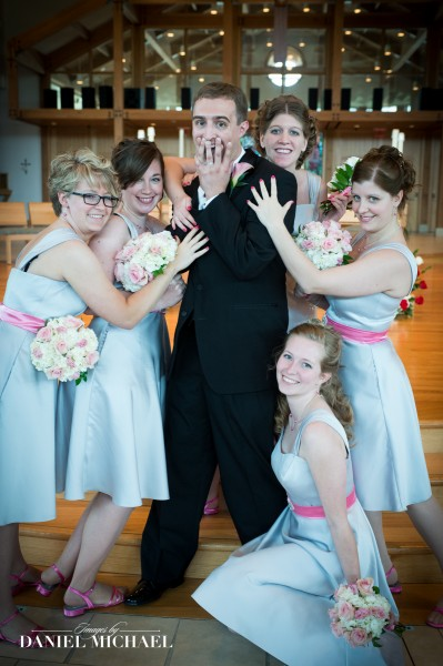 Funny Wedding Photo Groom with Bridesmaids