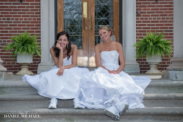 Two Brides Dresses Hanging