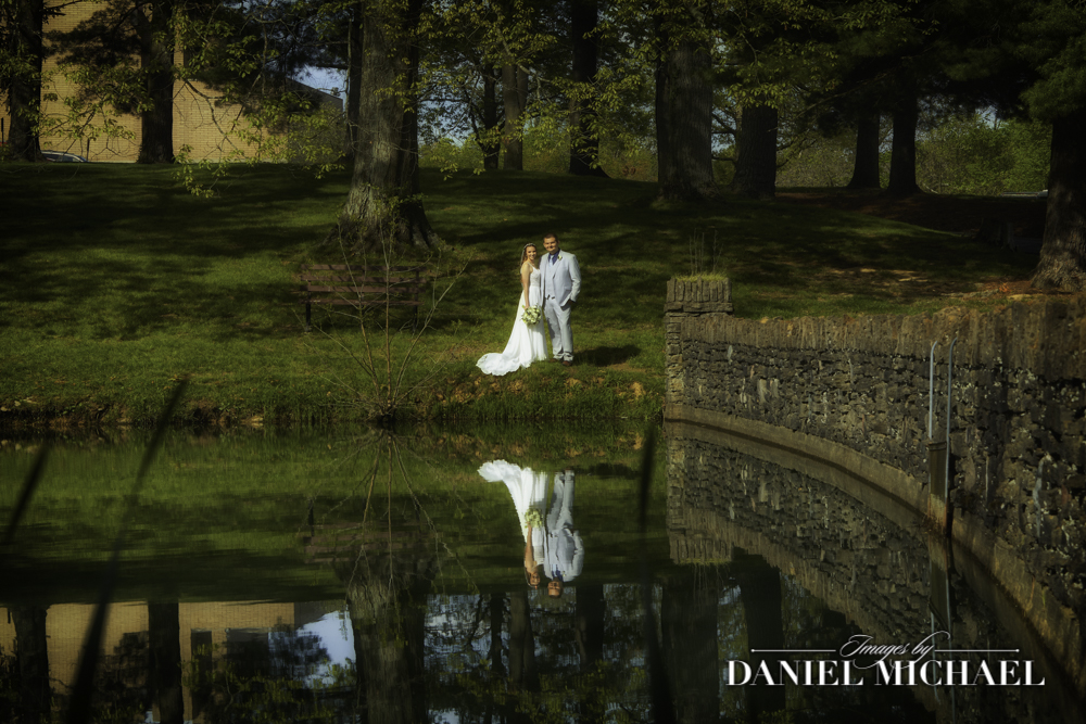 Wedding Couple with pond Reflection