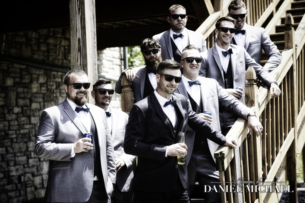 Groomsmen in Sunglasses on Steps