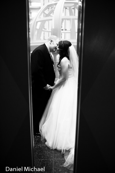 Bride and Groom in Elevators