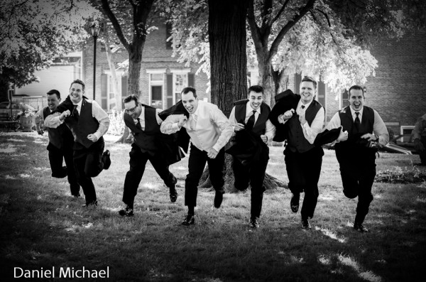Wedding Photography Groomsmen Running