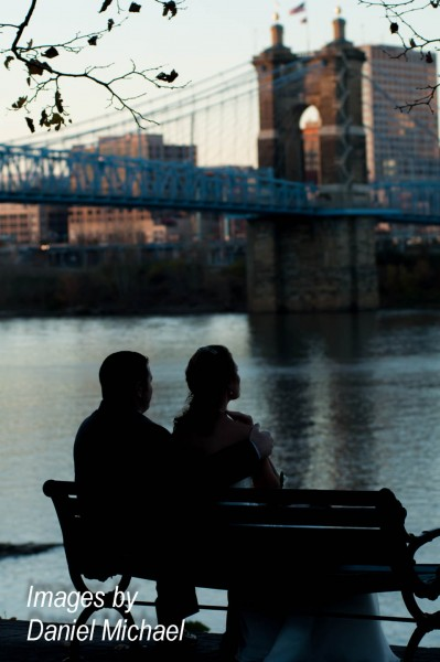Wedding Photos with Skyline of Cincinnati